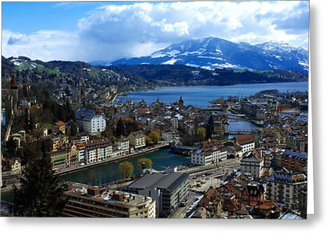 Lucerne Greeting Cards - High Angle View Of A City, Chateau Greeting Card by Panoramic Images