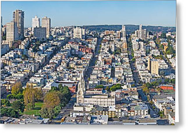 Coit Tower Greeting Cards - High Angle View Of A City, Coit Tower Greeting Card by Panoramic Images