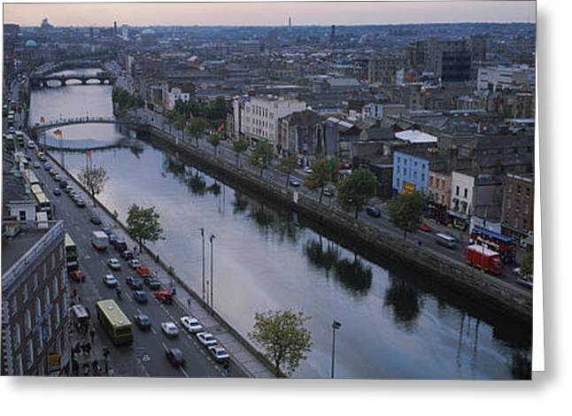 River Road Greeting Cards - High Angle View Of A City, Dublin Greeting Card by Panoramic Images