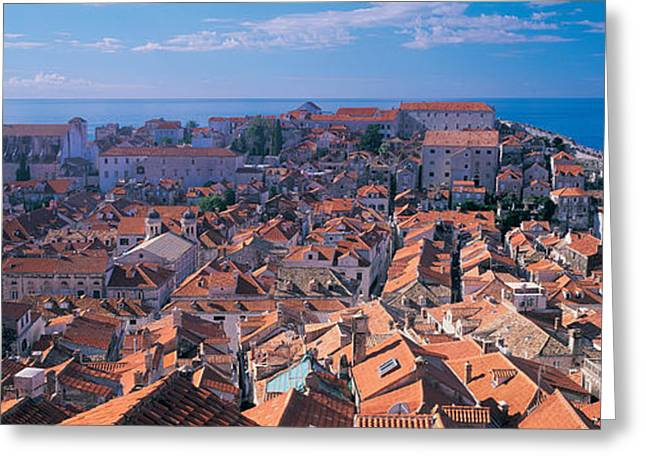 Dubrovnik Greeting Cards - High Angle View Of A City, Dubrovnik Greeting Card by Panoramic Images