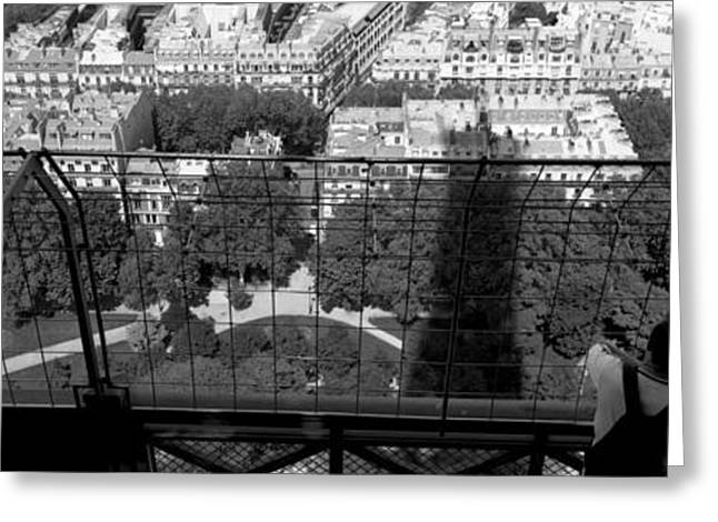Looking At View Greeting Cards - High Angle View Of A City, Eiffel Greeting Card by Panoramic Images