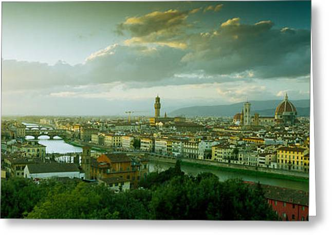 Michelangelo Greeting Cards - High Angle View Of A City From Piazzale Greeting Card by Panoramic Images