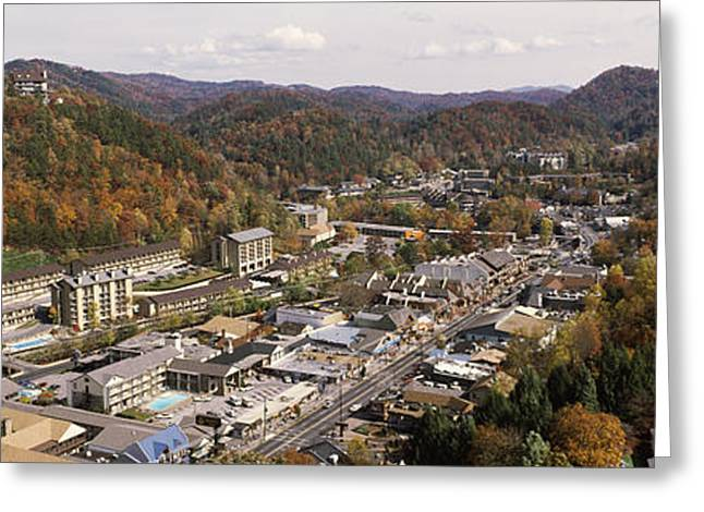 Gatlinburg Tennessee Greeting Cards - High Angle View Of A City, Gatlinburg Greeting Card by Panoramic Images