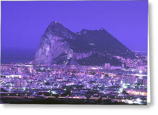 Strength Photographs Greeting Cards - High Angle View Of A City, Gibraltar Greeting Card by Panoramic Images