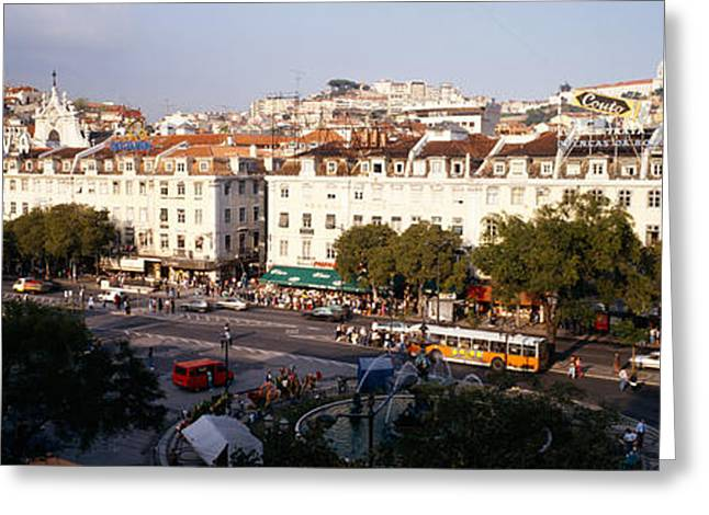 Town Square Greeting Cards - High Angle View Of A City, Lisbon Greeting Card by Panoramic Images