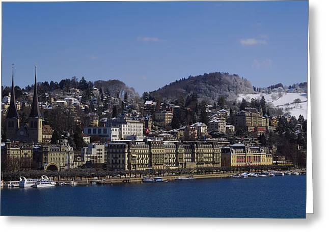 Lucerne Greeting Cards - High Angle View Of A City, Lucerne Greeting Card by Panoramic Images