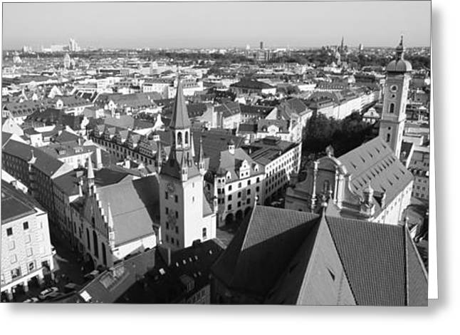 Gothic Germany Greeting Cards - High Angle View Of A City, Munich Greeting Card by Panoramic Images