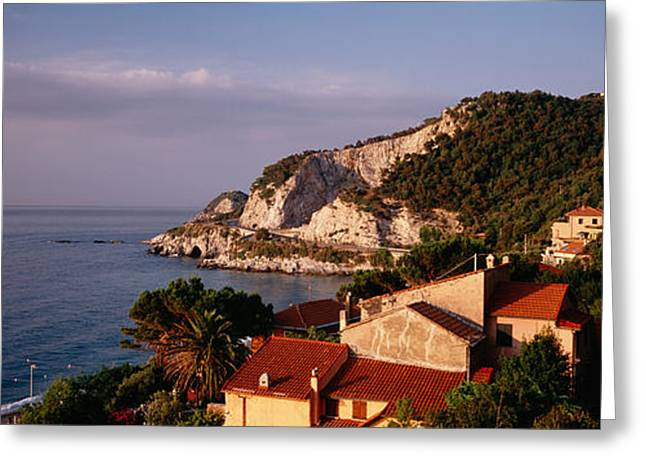 Rivera Greeting Cards - High Angle View Of A City Near The Sea Greeting Card by Panoramic Images