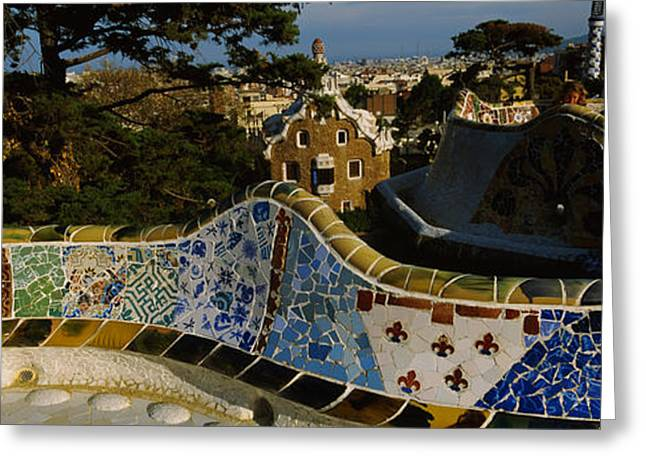 Guell Greeting Cards - High Angle View Of A City, Parc Guell Greeting Card by Panoramic Images
