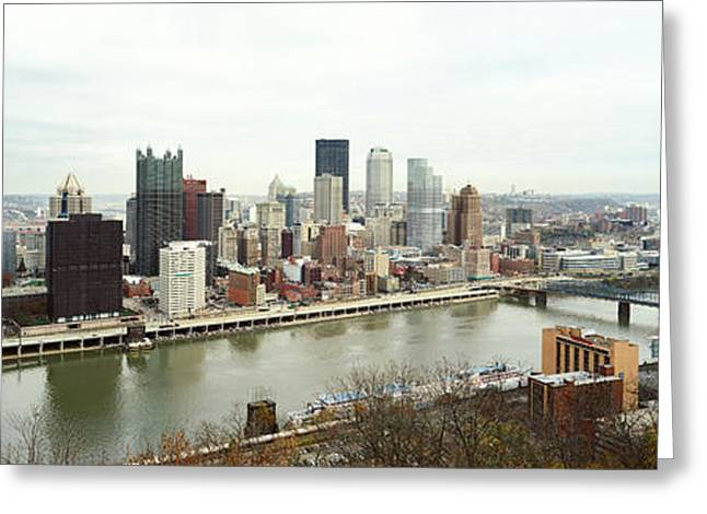High Angle View Of A City, Pittsburgh Greeting Card by Panoramic Images