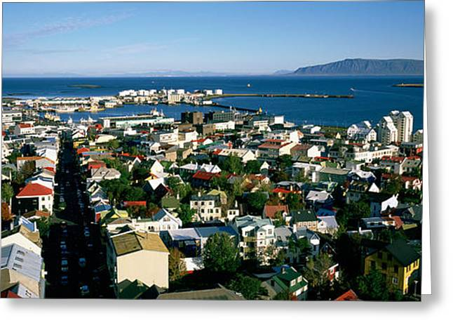 Residential Structure Greeting Cards - High Angle View Of A City, Reykjavik Greeting Card by Panoramic Images