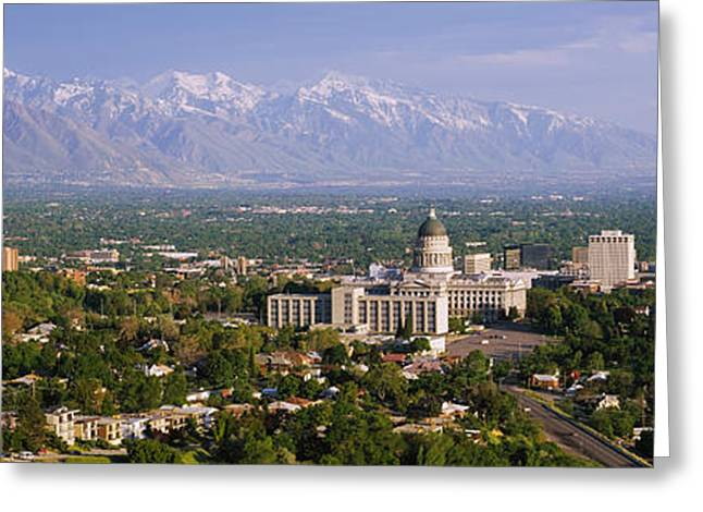 Capitol Greeting Cards - High Angle View Of A City, Salt Lake Greeting Card by Panoramic Images
