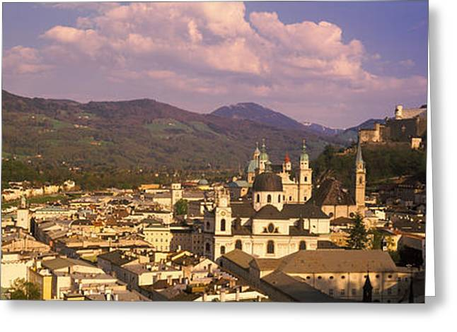 Salzburg Greeting Cards - High Angle View Of A City, Salzburg Greeting Card by Panoramic Images