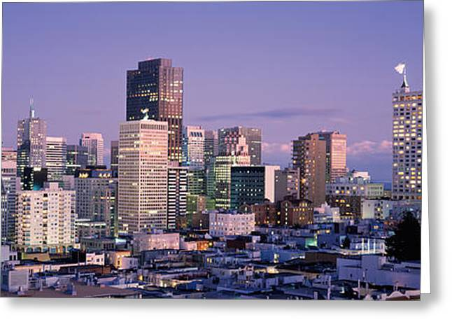 Financial District San Francisco Greeting Cards - High Angle View Of A City, San Greeting Card by Panoramic Images