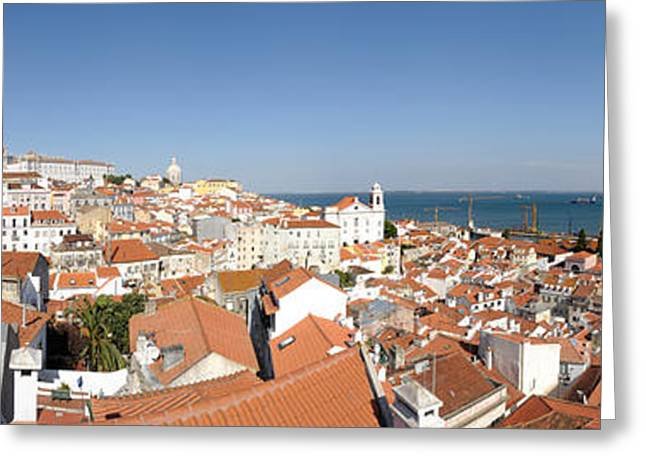Sao Greeting Cards - High Angle View Of A City, Sao Vicente Greeting Card by Panoramic Images