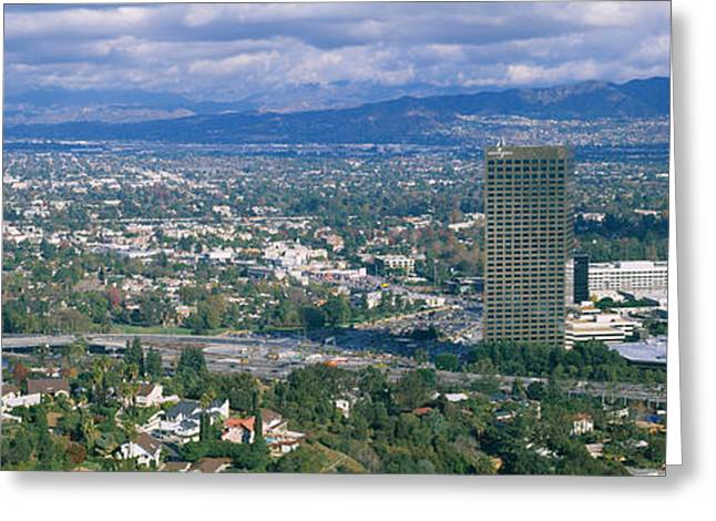 Sky Studio Greeting Cards - High Angle View Of A City, Studio City Greeting Card by Panoramic Images