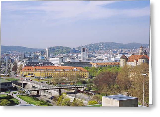 Stuttgart Greeting Cards - High Angle View Of A City, Stuttgart Greeting Card by Panoramic Images