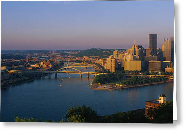 Three Rivers Greeting Cards - High Angle View Of A City, Three Rivers Greeting Card by Panoramic Images
