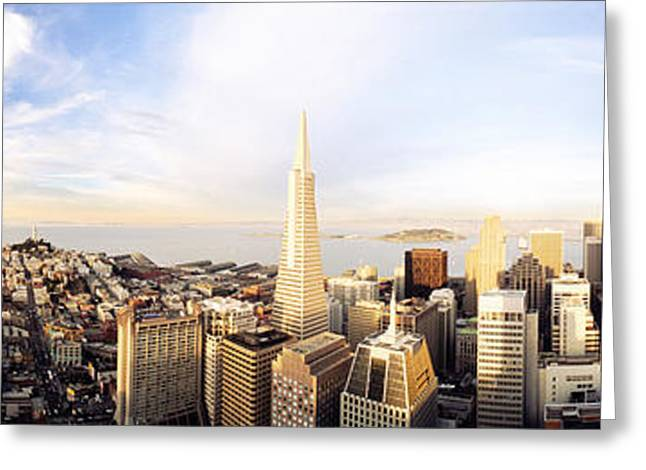 San Francisco Bay Greeting Cards - High Angle View Of A City, Transamerica Greeting Card by Panoramic Images