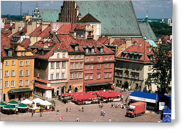 Town Square Greeting Cards - High Angle View Of A City, Warsaw Greeting Card by Panoramic Images