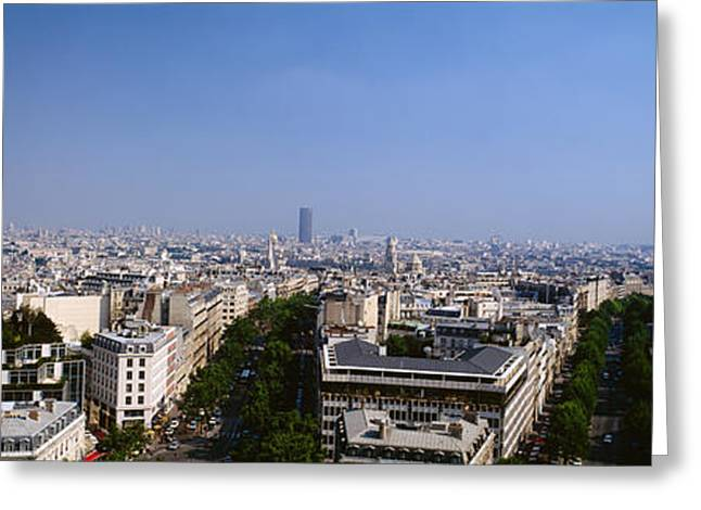 Arc De Triomphe Greeting Cards - High Angle View Of A Cityscape, Paris Greeting Card by Panoramic Images