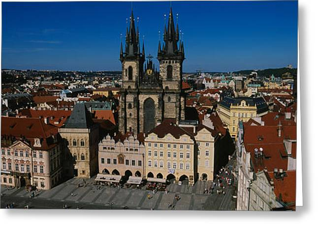 Town Square Greeting Cards - High Angle View Of A Cityscape, Prague Greeting Card by Panoramic Images