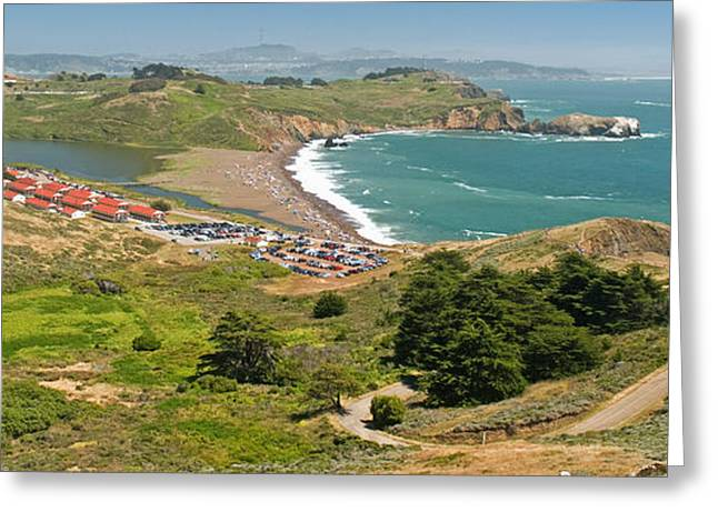 Marin County Greeting Cards - High Angle View Of A Coast, Marin Greeting Card by Panoramic Images