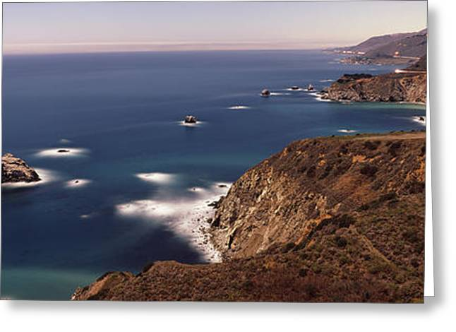 Big Sur California Greeting Cards - High Angle View Of A Coastline, Big Greeting Card by Panoramic Images