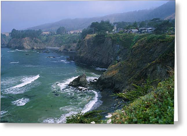 California Ocean Photography Greeting Cards - High Angle View Of A Coastline, Elk Greeting Card by Panoramic Images
