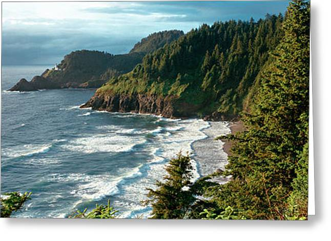Oregon Lighthouse Image Greeting Cards - High Angle View Of A Coastline, Heceta Greeting Card by Panoramic Images