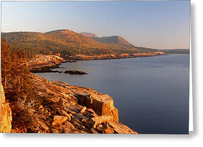 Maine Waterfront Greeting Cards - High Angle View Of A Coastline, Mount Greeting Card by Panoramic Images