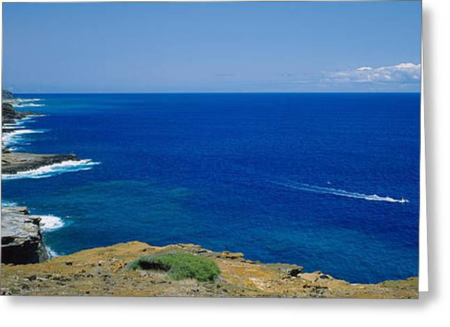 Water Vessels Greeting Cards - High Angle View Of A Coastline, Oahu Greeting Card by Panoramic Images