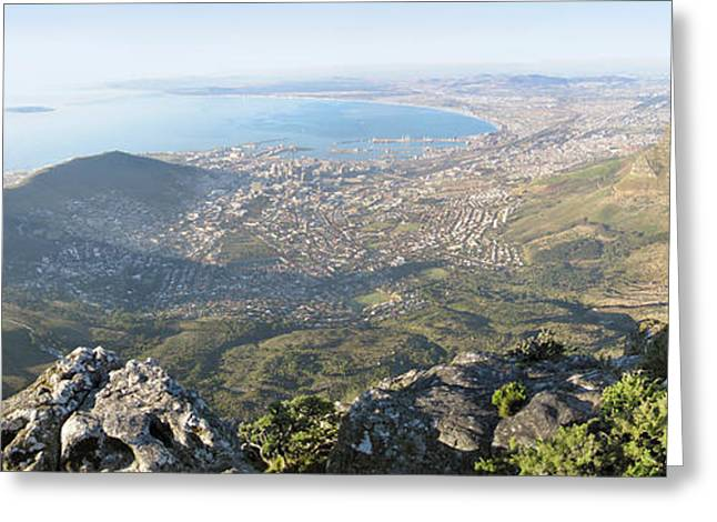 Cape Town Greeting Cards - High Angle View Of A Coastline, Table Greeting Card by Panoramic Images