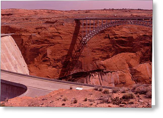 Lake Powell Greeting Cards - High Angle View Of A Dam, Glen Canyon Greeting Card by Panoramic Images