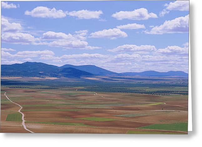 Mancha Greeting Cards - High Angle View Of A Dirt Road Passing Greeting Card by Panoramic Images