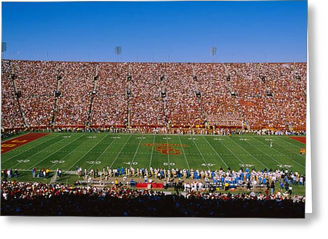 High Angle View Of A Football Stadium Greeting Card by Panoramic Images