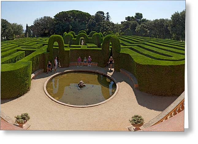 Labyrinth Greeting Cards - High Angle View Of A Formal Garden Greeting Card by Panoramic Images