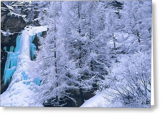European Alps Greeting Cards - High Angle View Of A Frozen Waterfall Greeting Card by Panoramic Images