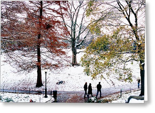 Snow New York City Greeting Cards - High Angle View Of A Group Of People Greeting Card by Panoramic Images