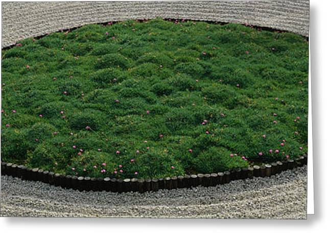 Garden Scene Greeting Cards - High Angle View Of A Japanese Garden Greeting Card by Panoramic Images