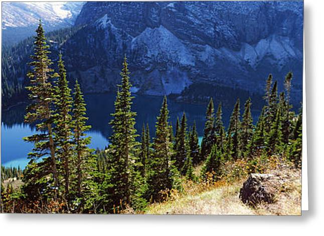 Us Glacier National Park Greeting Cards - High Angle View Of A Lake, Grinnell Greeting Card by Panoramic Images