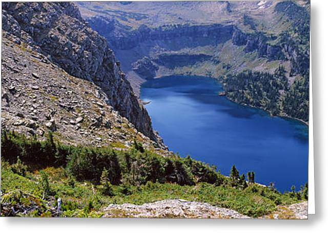 Us Glacier National Park Greeting Cards - High Angle View Of A Lake, Hidden Lake Greeting Card by Panoramic Images