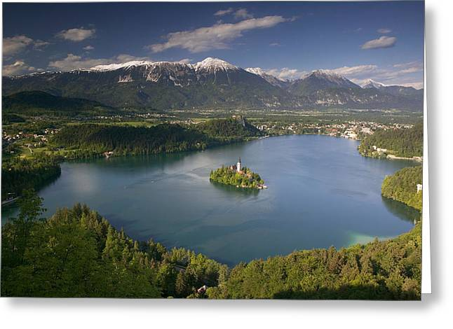 High Angle View Of A Lake, Lake Bled Greeting Card by Panoramic Images