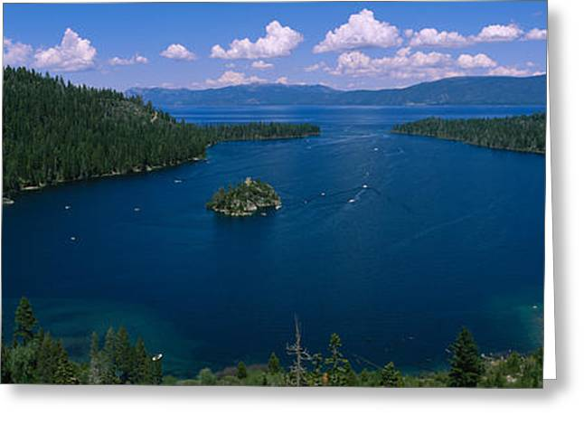 Boats In Water Greeting Cards - High Angle View Of A Lake, Lake Tahoe Greeting Card by Panoramic Images