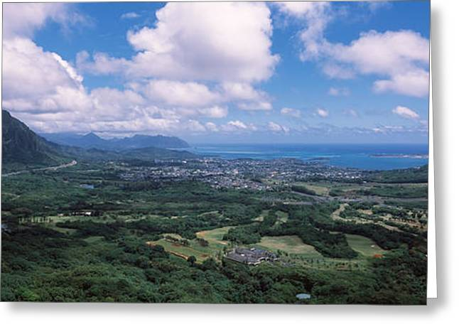 Cumulus Clouds Greeting Cards - High Angle View Of A Landscape Greeting Card by Panoramic Images