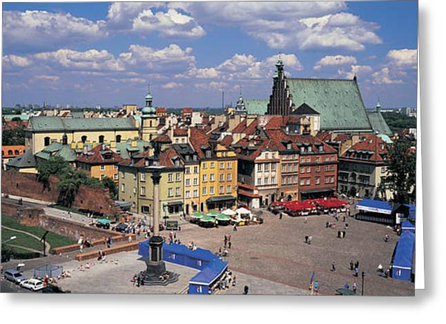 Market Square Greeting Cards - High Angle View Of A Market Square Greeting Card by Panoramic Images