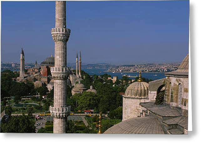 Hagia Sophia Greeting Cards - High Angle View Of A Mosque, St Greeting Card by Panoramic Images