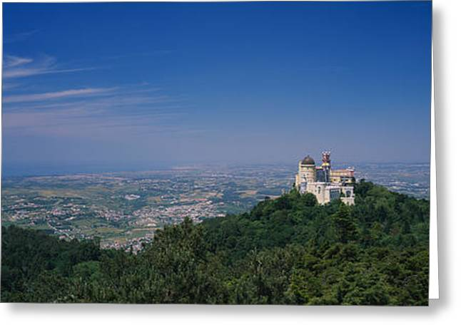 Pena Greeting Cards - High Angle View Of A Palace On Top Greeting Card by Panoramic Images
