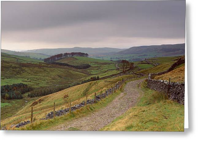 Overcast Day Greeting Cards - High Angle View Of A Path On A Greeting Card by Panoramic Images