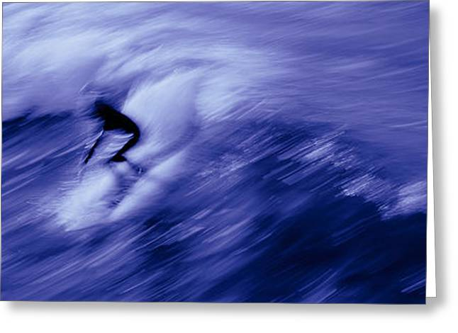 Extreme Sport Greeting Cards - High Angle View Of A Person Surfing Greeting Card by Panoramic Images